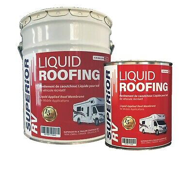 RV Liquid EPDM Rubber Roof Coating 5 Gallons 15 Year Guarantee