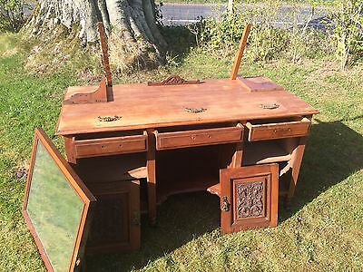 Gorgeous Dressing Table (Project!) with Mirror, Original Metalwork & Castors
