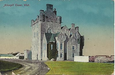 Early Real photograph postcard of  Ackergill Tower Wick Used