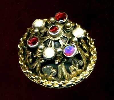 Antique Button...Deluxe Austro-Hungarian Jewel...Pearls & Garnets