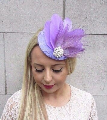 Lilac Light Purple Cream Feather Fascinator Pillbox Hat Races Wedding Hair 3719