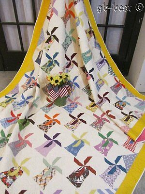 Farm House ! c 1930s Windmill Vintage Quilt FEEDSACKS Juvenile 95 x 84