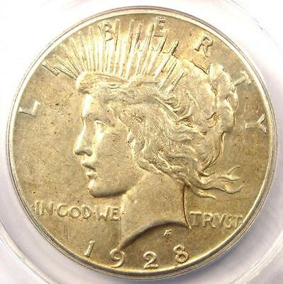 1928 Peace Silver Dollar $1 - Certified ANACS AU50 - Rare 1928-P Key Date Coin!