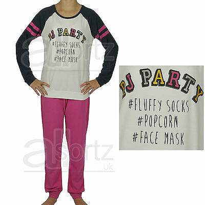 New Girls Uk Store Grey & Pink PJ  Party Sparkle Hashtag Pyjamas Age 6-12 Pyjama