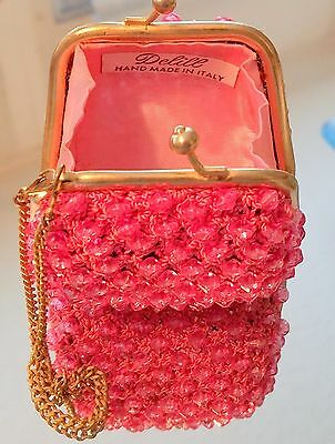 DAZZLING Vintage Delill Pink Beaded Twist Lock Change Coin Purse Made in Italy