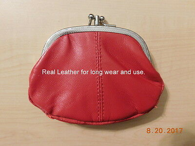 Leather Twin Snap Coin Purse w/ Bottom Zippered Pocket