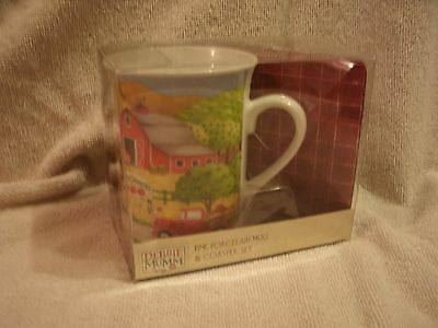 New In Package Debbie Mumm Porcelain Coffee Mug And Coaster Set