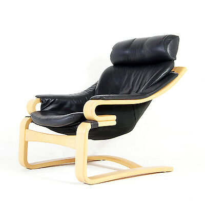 Retro Vintage Swedish Ake Fribytter Leather Armchair Lounge Chair Danish 60s 70s