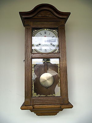 """Vintage """"555"""" Wall Clock. Light Oak . 31 Day With Hourly Strike."""