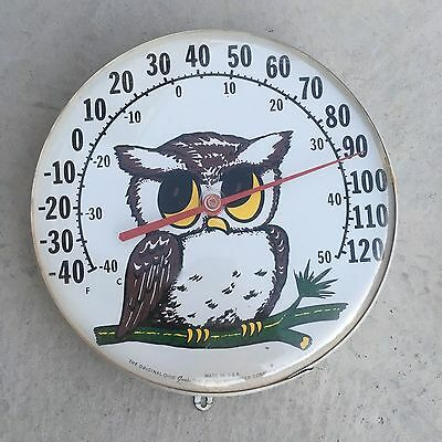Vintage Original Jumbo Dial Ohio Thermometer Co. Owl Thermometer Works