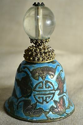 Antique Cloisonné Bell With Chinese Mandrin Hat Top Button As Handle