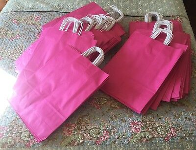 300 x Large Pink Paper Bags with White Twisted Handle - 31cm x 42cm x 13cm.