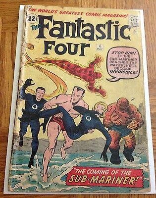 Silver Age Comic Fantastic Four 4 Vol 1 #4 May 1962 First Appearance Sub Mariner