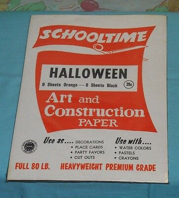 vintage SCHOOLTIME HALLOWEEN CONSTRUCTION PAPER orange and black new/sealed