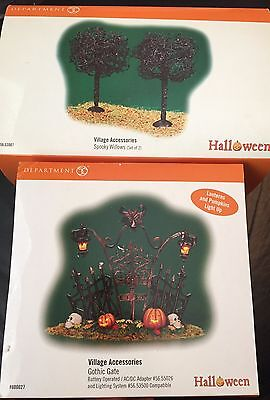 Department 56 Set of Two Gothic Gate and Spooky Willows has two trees. Used