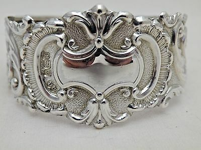 Solid Silver Antique Fancy Embossed Napkin Ring Sheffield 1907