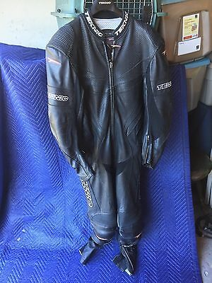 Teknic Leather Motorcycle One Piece Racing Suit Black Size 50 / 60