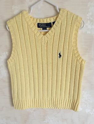 NEW Kids Boys Ralph Lauren Cable-Knit Sweater Vest Fall Yellow Sz 3T $39.50