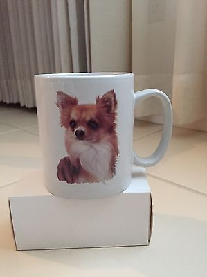 NEW Long Coat/Hair Fawn & White Chihuahua Dog Coffee Mug Cup