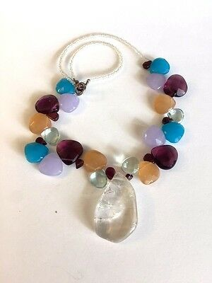 Beaded Briollette Gemstone Necklace With Sterling Silver Toggle Clasp