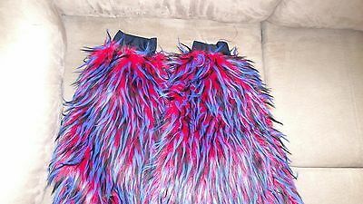 Like brand new gogo dance furry leg warmers/boot covers red black and blue