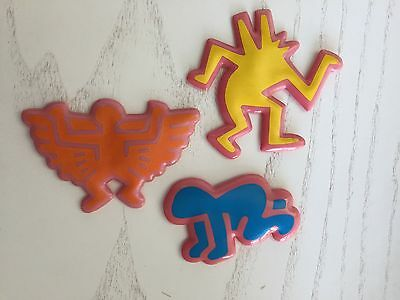 Set of 3 RARE Vintage Keith Haring puffy magnets from the 80's