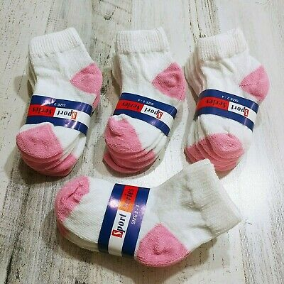 TODDLER GIRL SOCKS Ankle High Size 4-6 2T 3T 4T White and Pink, 12 Pair