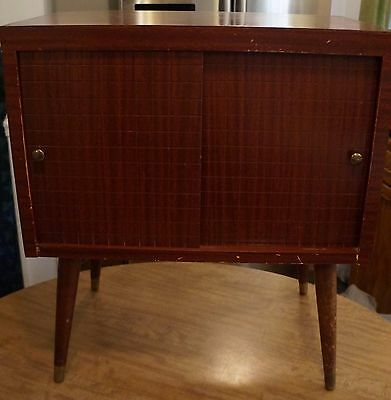 Vintage Mid-Century Modern  Record / LP Cabinet / Stand, Wood Tapered Legs