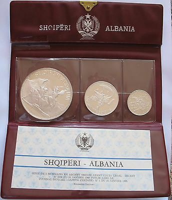 Albania 1968 Silver  Proof Set 25, 10 & 5 Leke Original Wallet