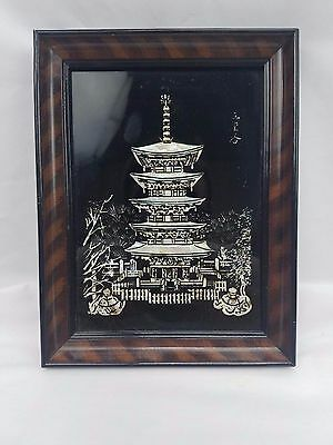 Mother Of Pearl Inlay Black Lacquer Japanese Asian Pagoda Wall Hanging