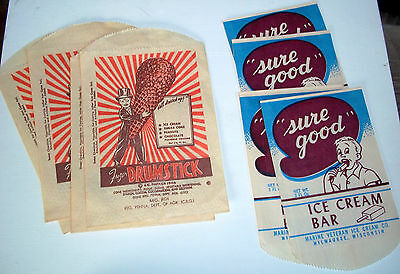 "Vintage mid century orig. ice cream paper wrappers ads unused 'Sure Good""!"