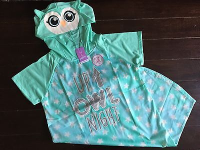 NWT Justice Pajamas Up Owl Night Hooded Sleep shirt Nightgown PJS Girls sz 14