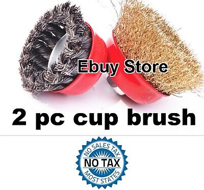 """2pc  4"""" x 5/8"""" Arbor FINE Crimped & Knot Wire Cup Brush Twist For Angle Grinders"""