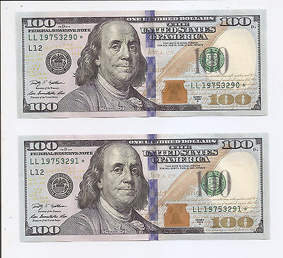 TWO pcs 100 Dollar Bills 2009 A Consecutive Numbers Star Notes Very Nice