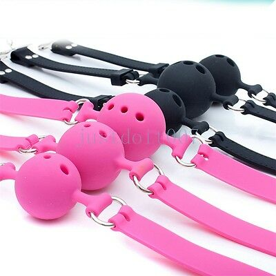 Pink//Bla Full Silicone Breathable Wiffle Mouth Gag With Adjustable Lockable Belt