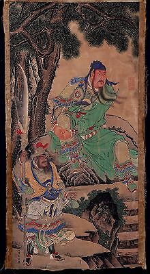 Exquisite Long Old Paper Chinese Painting GuanGong Marks DingYunPeng KK263