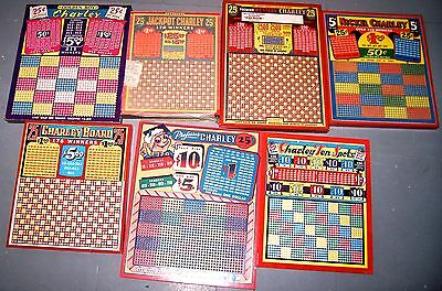 7 diff CHARLEY vintage PUNCHBOARDS FREE SHPNG NOS  colorful 1940's  real-deal