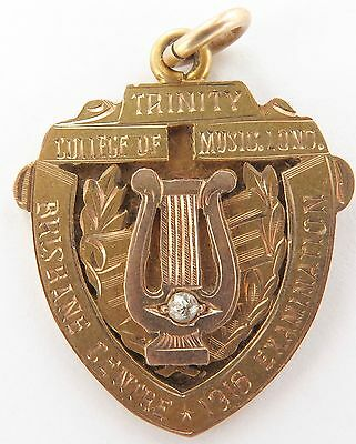 Rare 1916 15Ct Gold & Diamond Presentation Fob. Trinity College Of Music, London