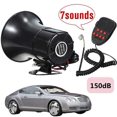 12V 150DB Car Warning Alarm 7-Sound Tone Super Loud Siren Horn PA Speaker System