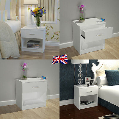 UK New Modern High Gloss Front Wooden Bedside Table With A Drawer Bedroom