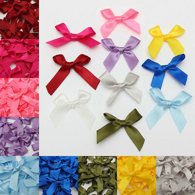 50Pcs Silk Satin Ribbon Bows Ribbons Scrapbooking Wedding Craft DIY Appliques