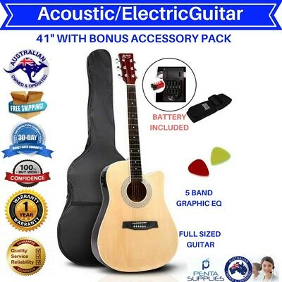 """Acoustic Electric Guitar 41"""" Wooden Full Size Shape Steel 5 String Classical New"""