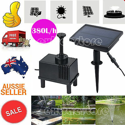 Solar Power Fountain Garden Pond Pool Water Feature Pump Kit Panel 380L/h AU