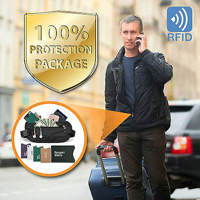 Money Belt - Passport Holder Secure Hidden Travel Wallet with RFID Blocking US