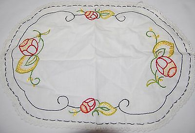 Antique Embroidered Table Linen Place Mat Placemat Red Black Tulip 16 x 11