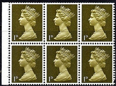 1968 SG 724 1d Olive 2 Bands x 6 Pane Unmounted Mint