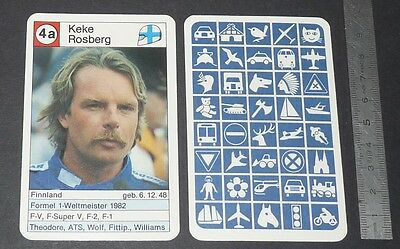 Carte Coureur Automobile 1984 Formule 1 Grand Prix F1 Keke Rosberg Williams