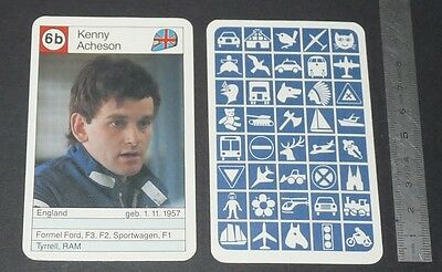 Carte Coureur Automobile 1984 Formule 1 Grand Prix F1 Kenny Acheson Ram Gb