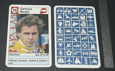 Carte Coureur Automobile 1984 Formule 1 Grand Prix F1 Gerhard Berger Ats