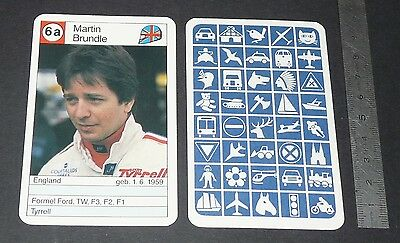 Carte Coureur Automobile 1984 Formule 1 Grand Prix F1 Martin Brundle Tyrrell